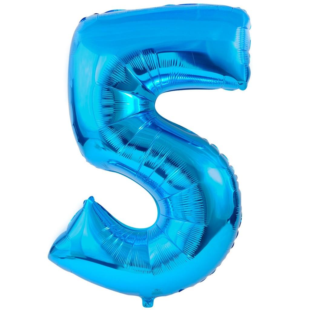 #5 Blue Foil Balloon