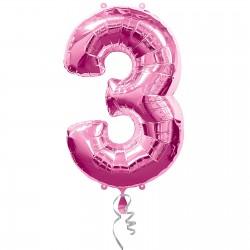 3 Pink Foil Balloon