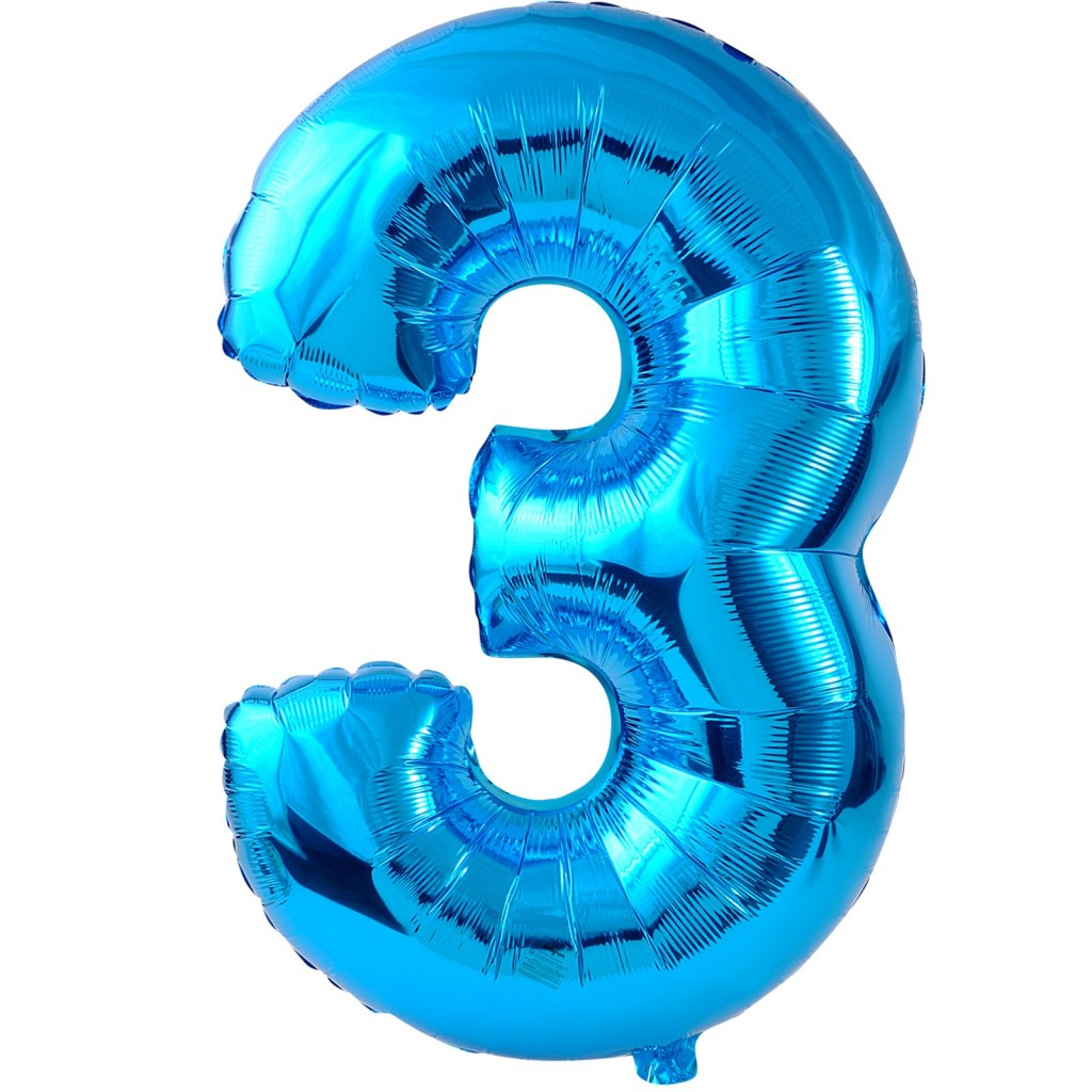 Blue 3 Foil Balloon