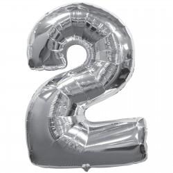 Silver #2 foil balloons
