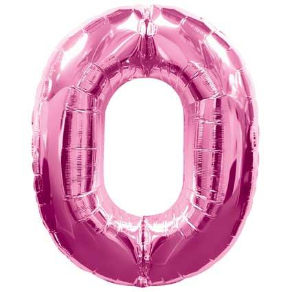 pink 0 foil balloons