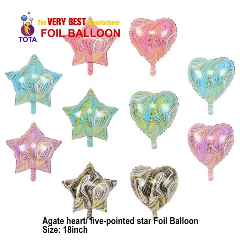 Agate heart five-pointed star Foil Balloon