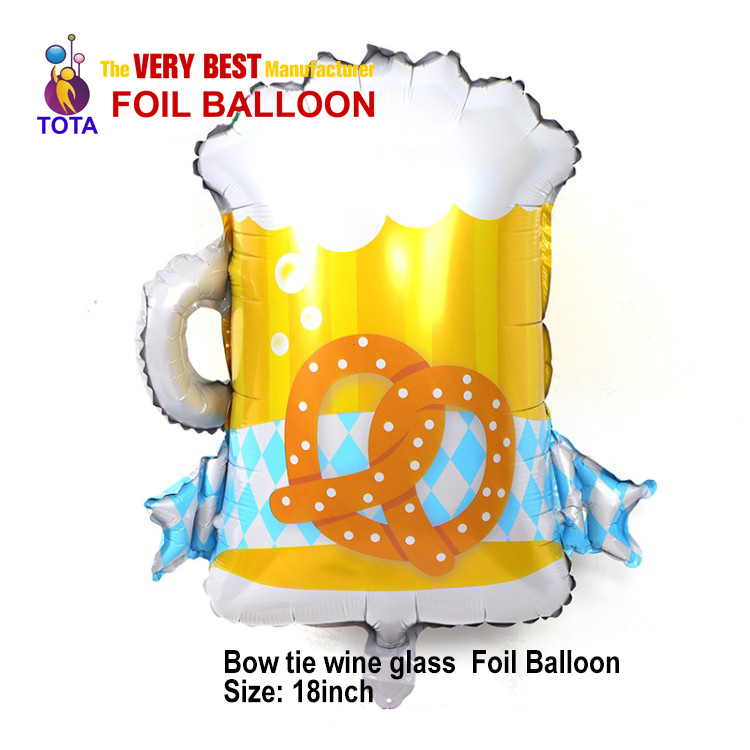 Bow tie wine glass Foil Balloon