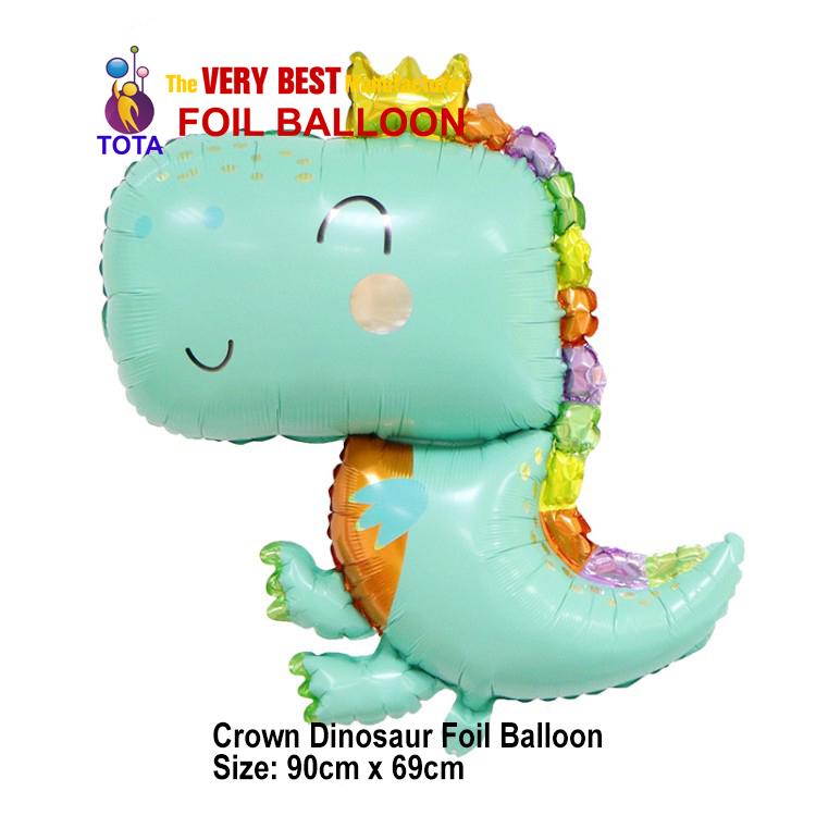 Crown Dinosaur Foil Balloon