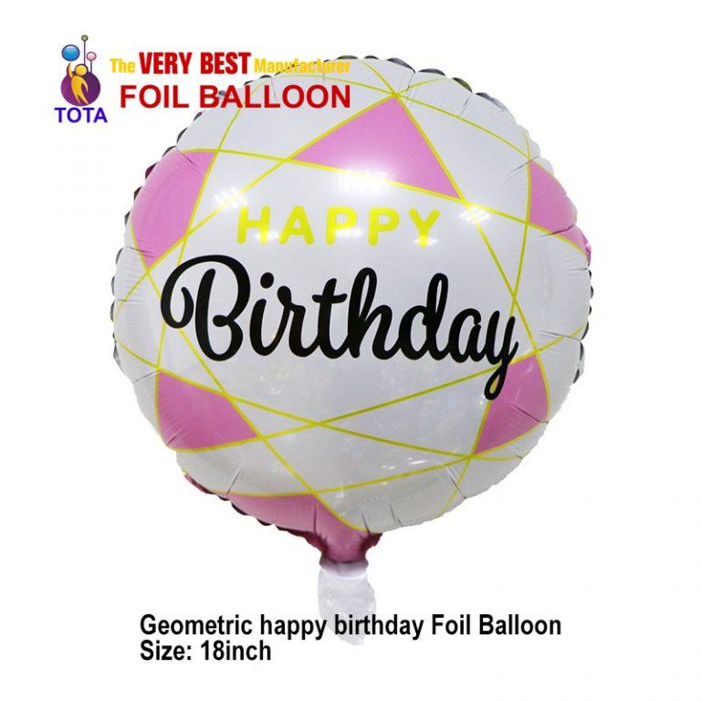 Geometric happy birthday Foil Balloon
