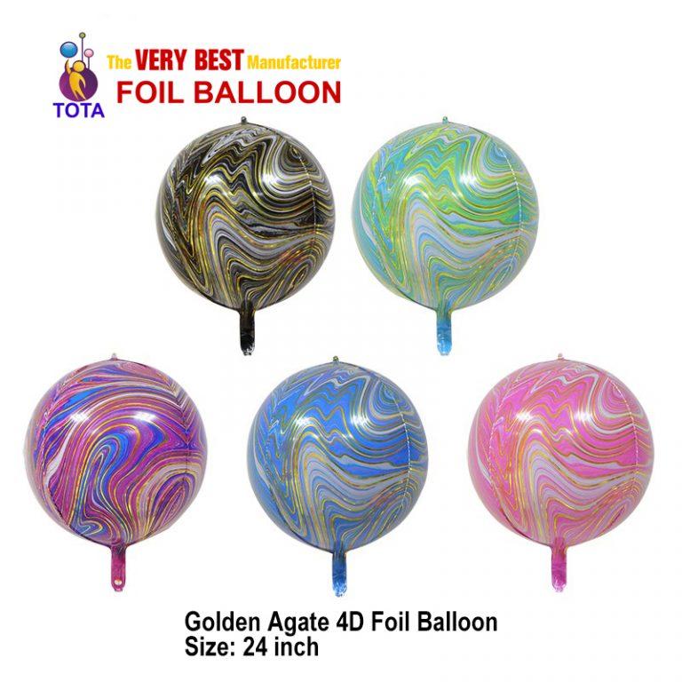 Golden Agate 4D Foil Balloon