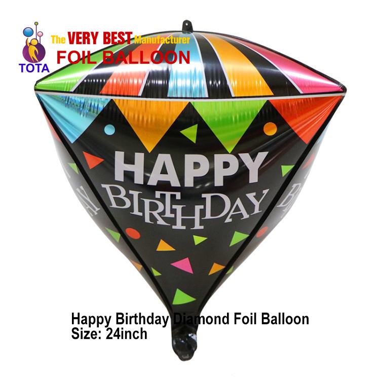 Happy Birthday Diamond Foil Balloon