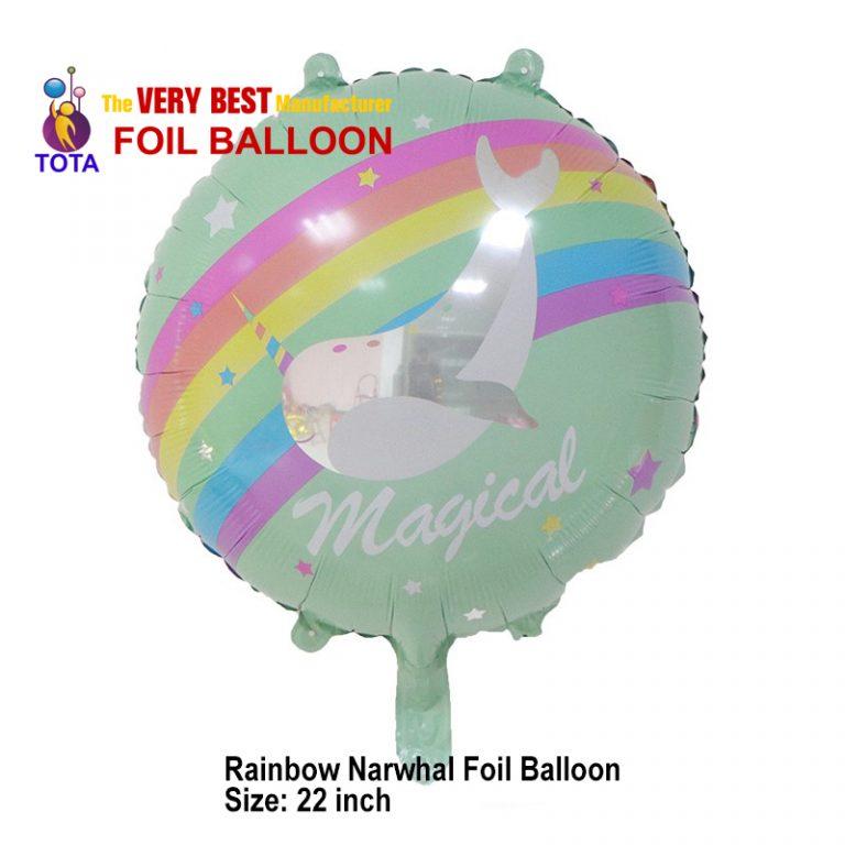 Rainbow Narwhal Foil Balloon