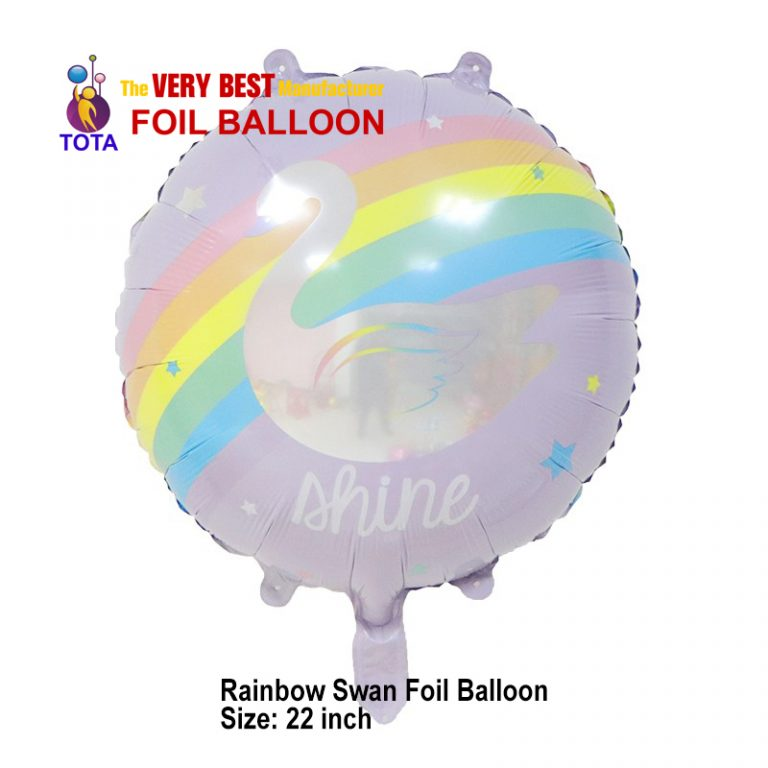 Rainbow swan Foil Balloon