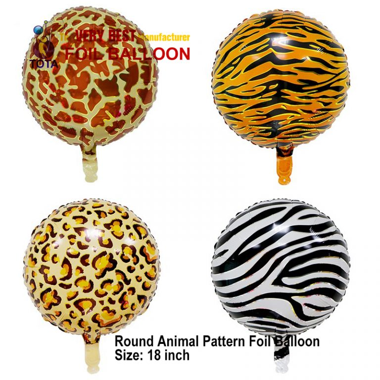 Round Animal Pattern Foil Balloon