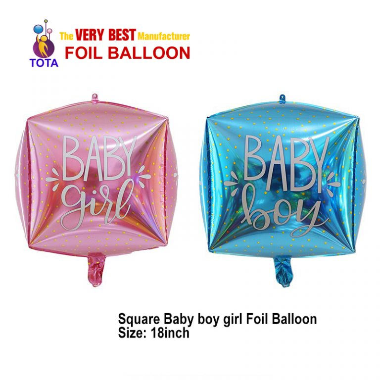 Square Baby boy girl Foil Balloon