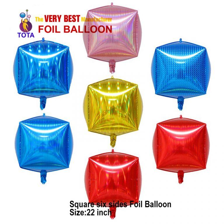 Square six sides Foil Balloon