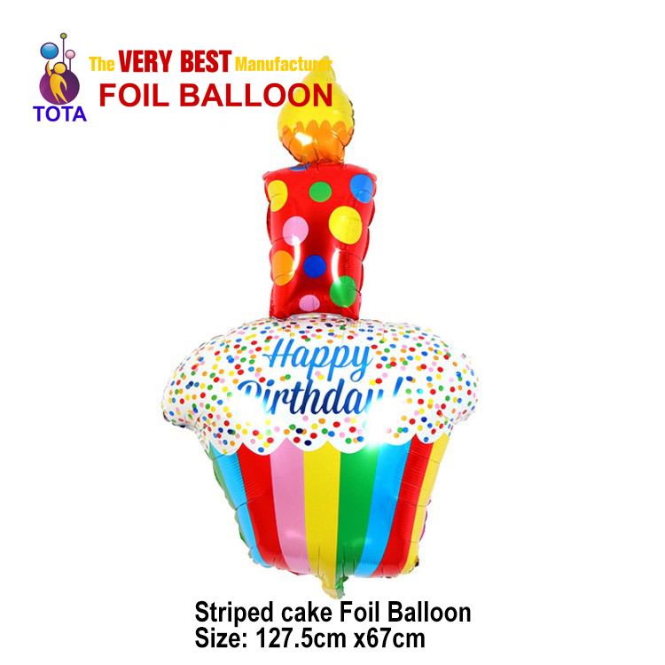 Striped cake Foil Balloon